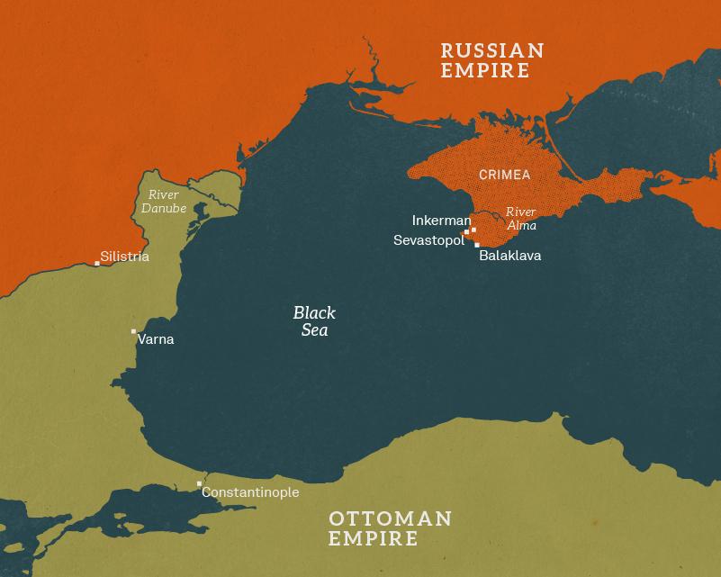 Map of the Crimea and theBlack Sea, 1854