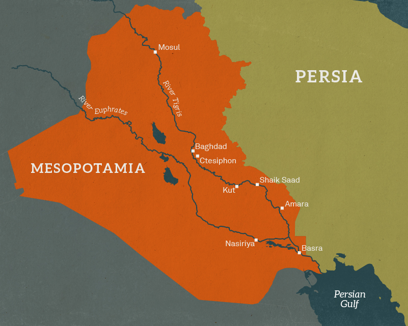 Map of Mesopotamia, 1916