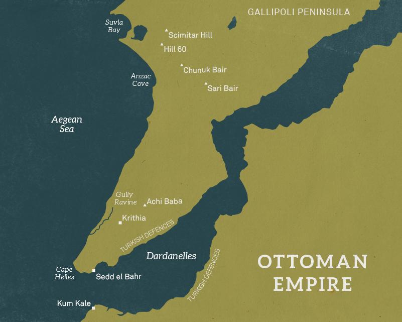 Map of the Gallipoli peninsula, 1915