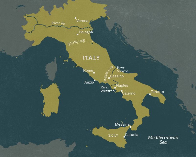 Map of Italy, 1944