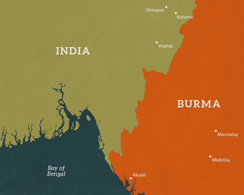 Map of India and Burma, 1944