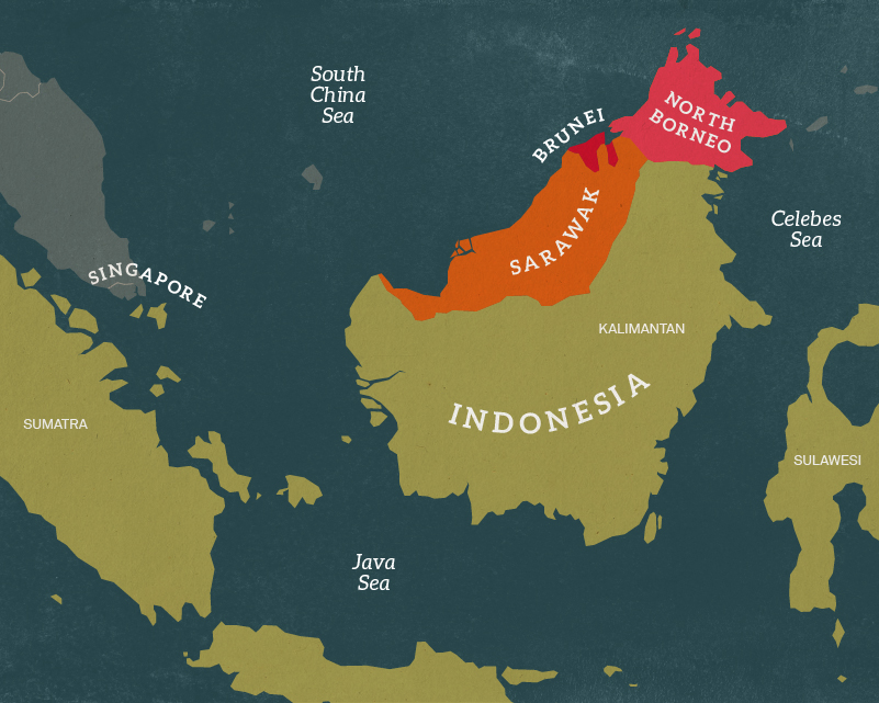 Map of the island of Borneo, 1962