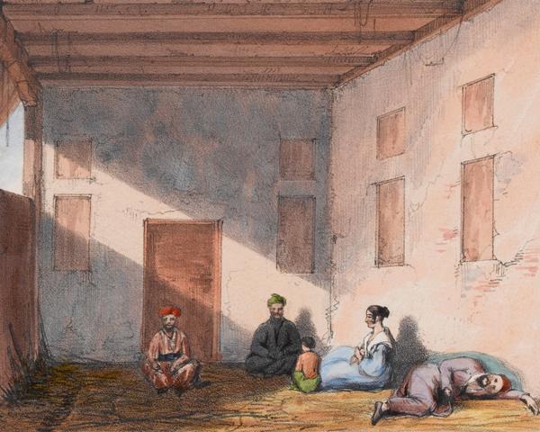 British hostages in their Kabul prison, c1842