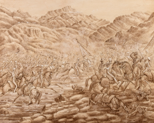 Cavalry charging at the Battle of Tezeen, 11 September 1842