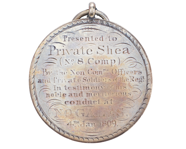 Regimental medal awarded to Private Shea for his bravery at Corunna, 1809