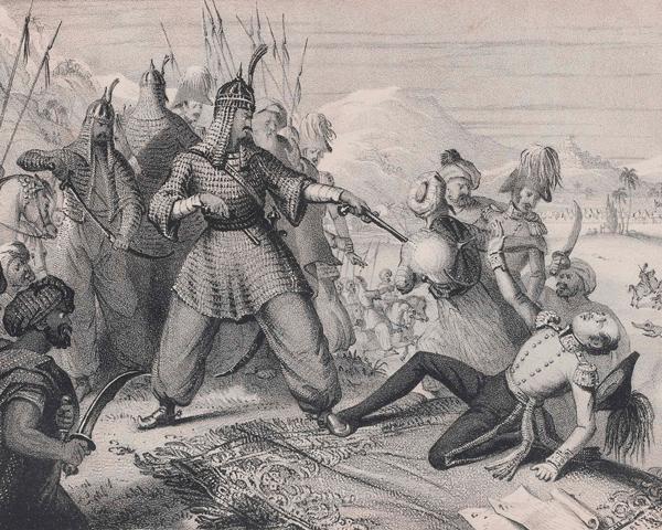 Akbar Khan killing the British envoy Sir William MacNaghten, 23 December 1841