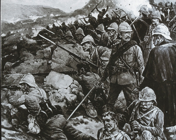 The Gloucestershire Regiment and Princess Victoria's (Royal Irish Fusiliers) at the Battle of Nicholson's Nek, October 1899