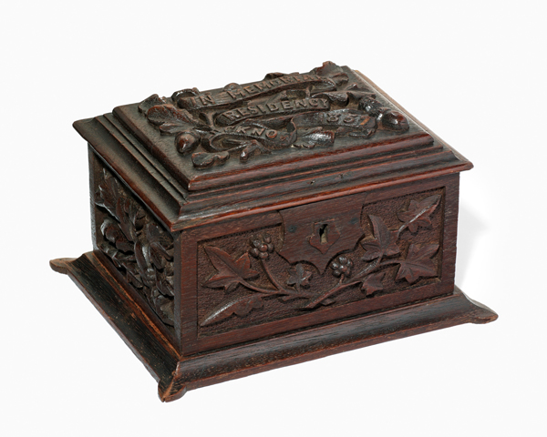 Box made from timber salvaged from the Residency at Lucknow, 32nd (Cornwall) Regiment, 1857