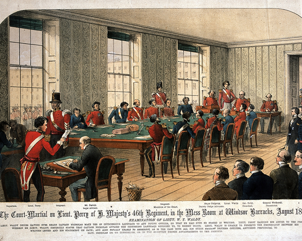 The court-martial of Lieutenant Perry, 46th Regiment, at Windsor Barracks, 1854