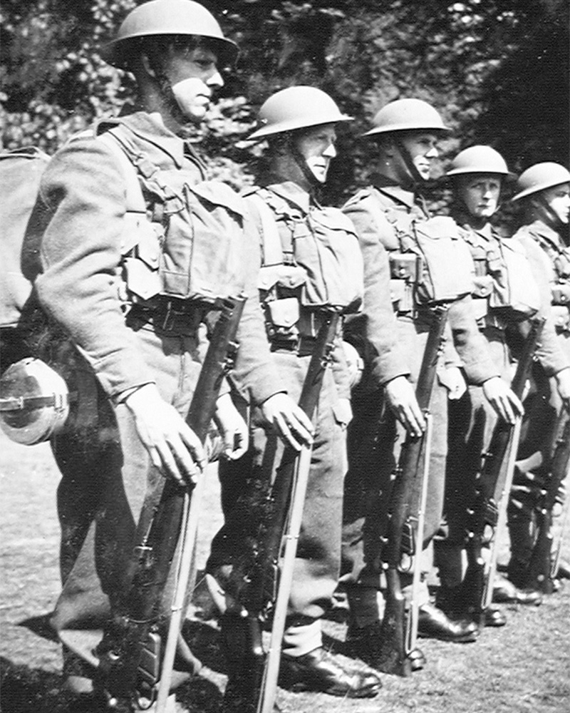 Troops wearing the new battledress and equipment issued to all branches of the army in 1939