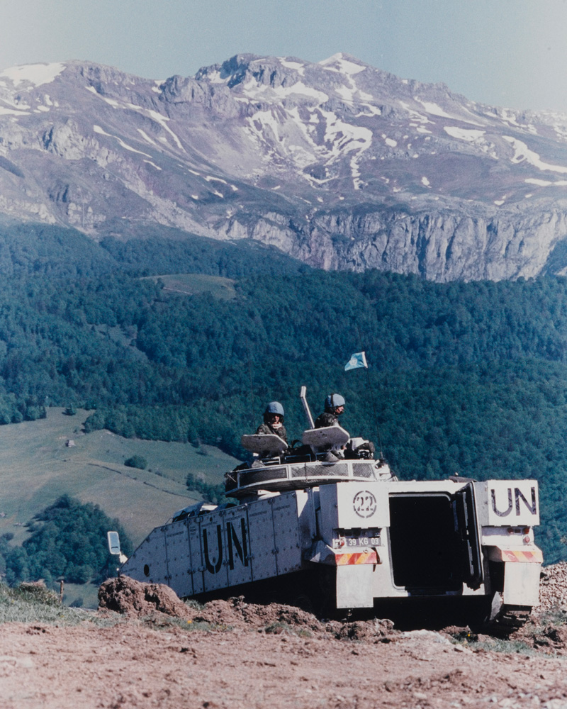 A British Army Warrior vehicle in the Bosnian hills, c1993