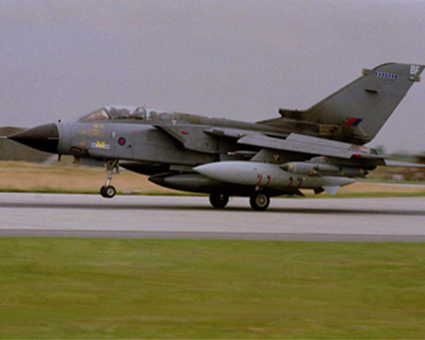 A Royal Air Force Tornado departs for a raid, Kosovo, 1999