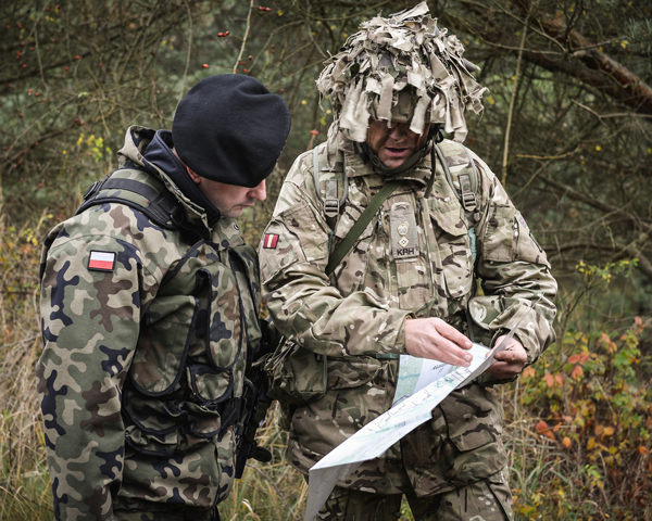 An officer of The King's Royal Hussars confers with his Polish counter-part during 'Exercise Black Eagle', 2014