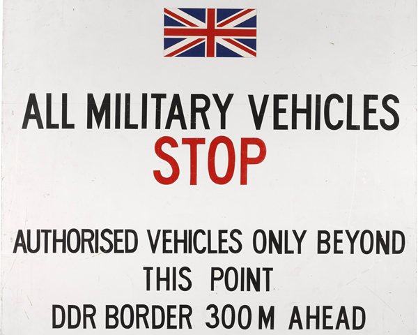 British Army of the Rhine stop sign marking the East German border, c1980s