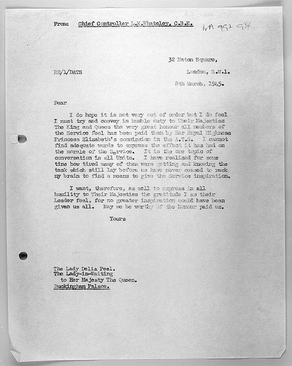 Letter from Leslie Whateley CBE, Director of the ATS, to Lady Delia Peel, Lady-in-Waiting to Her Majesty The Queen, 8 March 1945