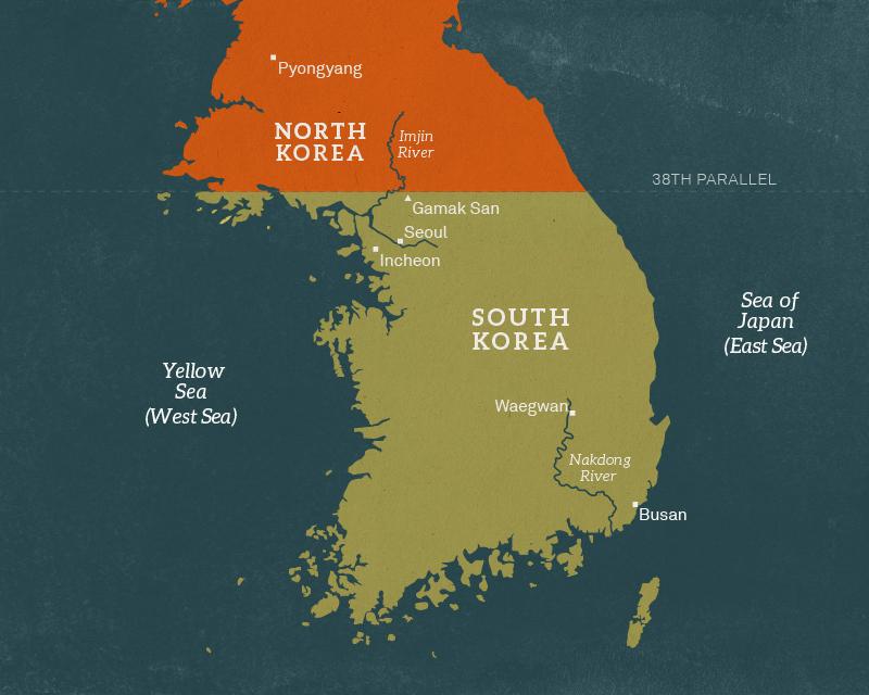 Map of the Korean peninsula, 1950