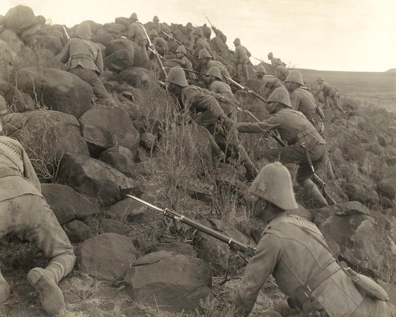 Canadian troops climbing a kopje, c1900