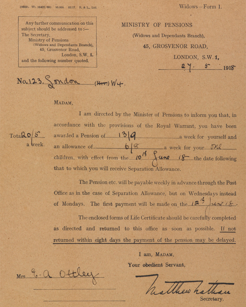 Widows Form 1 from the Ministry of Pensions to Mrs Ethel Annie Ottley, 27 May 1918