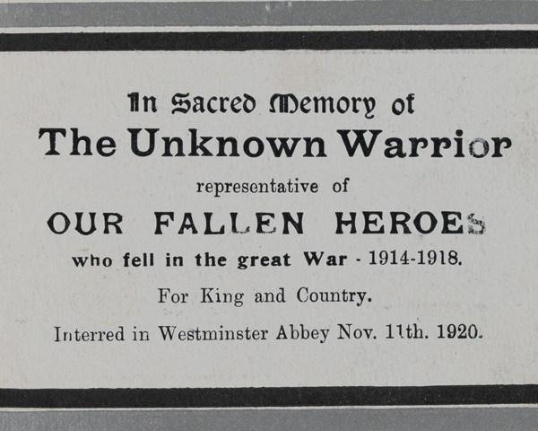 Memorial card for the Unknown Warrior interred in Westminster Abbey, 11 November 1920
