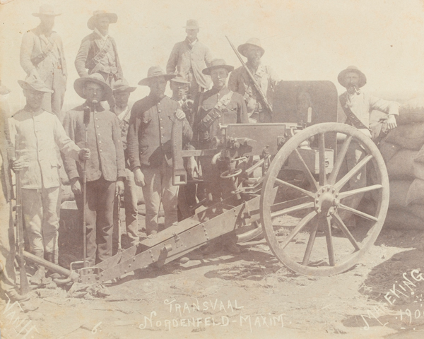 Nordenfelt-Maxim machine gun manned by Boers at Mafeking, 1900