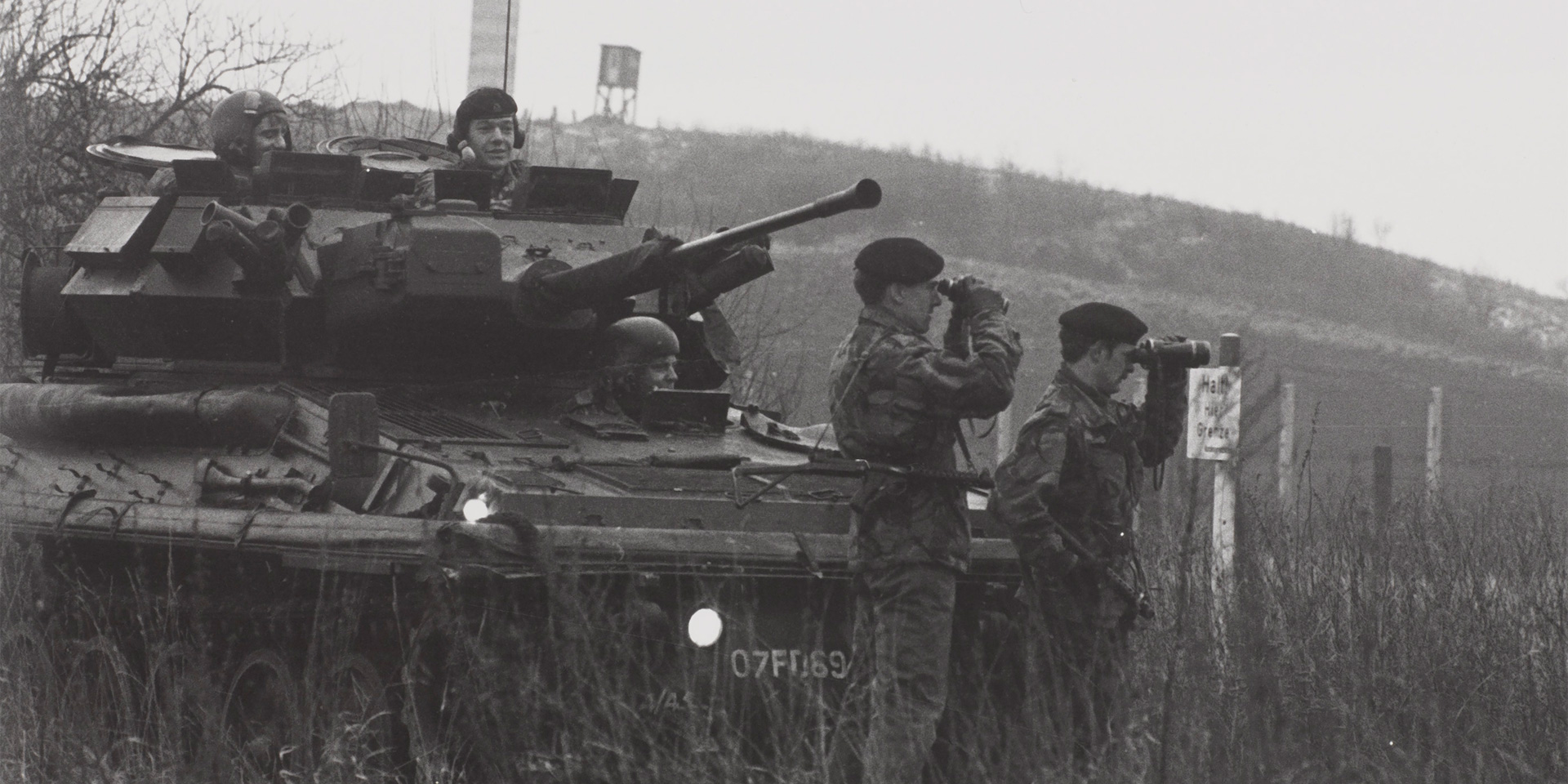 A training patrol of the 16th/5th The Queen's Royal Lancers visits the Inner German Border, 1979