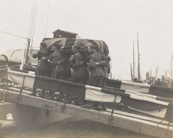 The coffin of the Unknown Warrior carried on to HMS 'Verdun', 1920