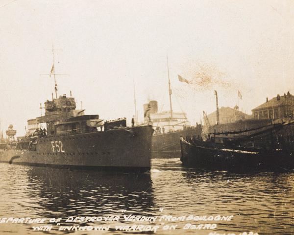 The destroyer HMS 'Verdun' leaving Boulogne, 10 November 1920