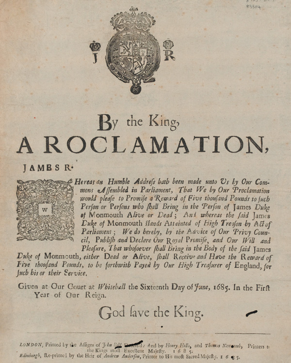 Proclamation offering a reward for the capture of the Duke of Monmouth, 16 June 1685