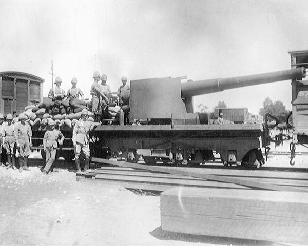 A six-inch naval gun mounted on a railway truck, Modder River, 1899