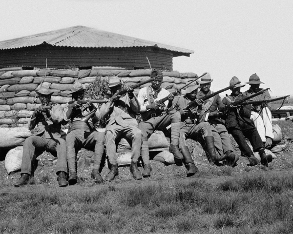 Black African soldiers outside a blockhouse, 1900
