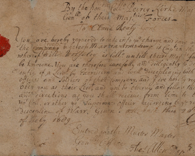 Claudius Beaty's commission, issued and signed by Major-General Kirke outside Derry, 20 July 1689