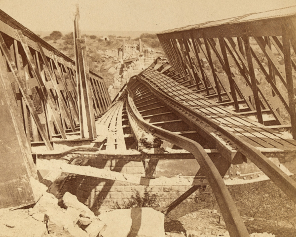 Railway bridge at Kroonstadt blown up by the Boers, 1901