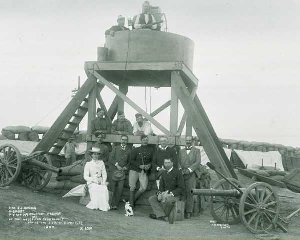Cecil Rhodes and members of the Kimberely garrison at the Wesselton searchlight, 1900