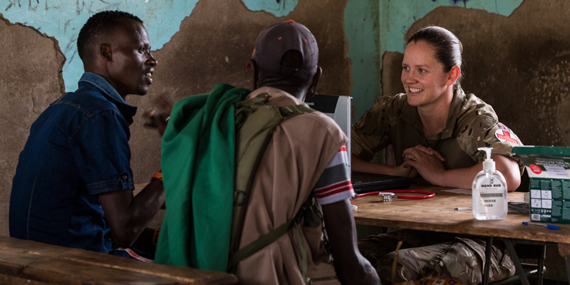 British army medic at work in a Kenyan outreach clinic