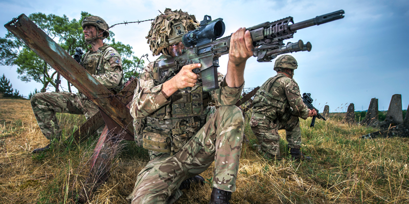 Soldiers of the Queen's Dragoon Guards taking part in a multinational exercise in Poland