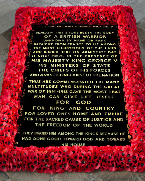 The tomb of the Unknown Warrior, Westminster Abbey, 2019