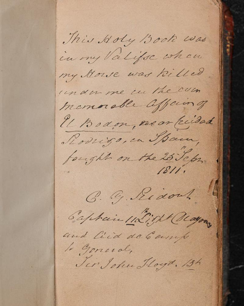 Bible belonging to Captain CG Ridout, 11th Light Dragoons, c1811