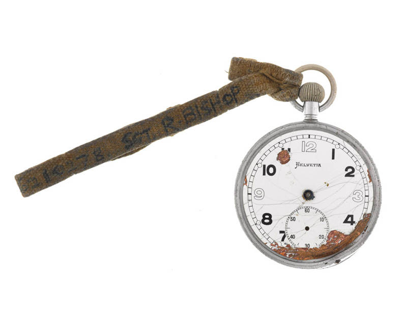 Broken Army issue fob watch belonging to Sergeant Roy Bishop, Middlesex Regiment (Duke of Cambridge's Own), 1944