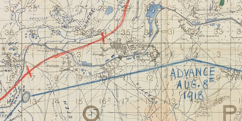 Map covering the area east of Amiens, 1918