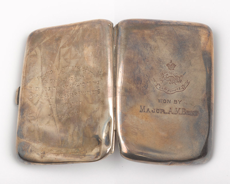 Cigarette case belonging to Lieutenant-Colonel Arthur Bent, 1914