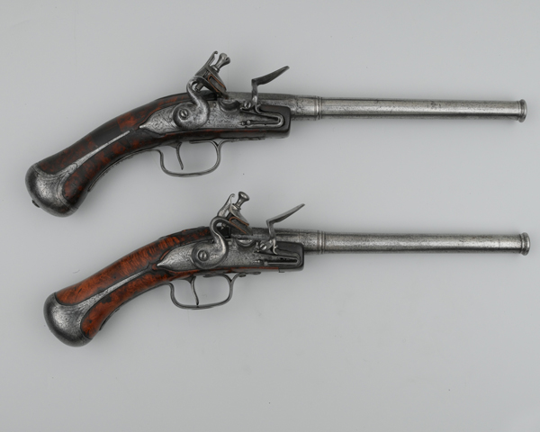 A pair of flintlock rifled pistols, c1645