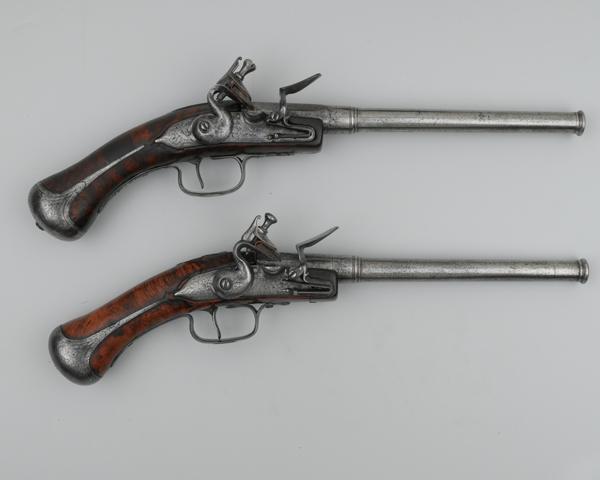A pair of flintlock rifled pistols, c1645