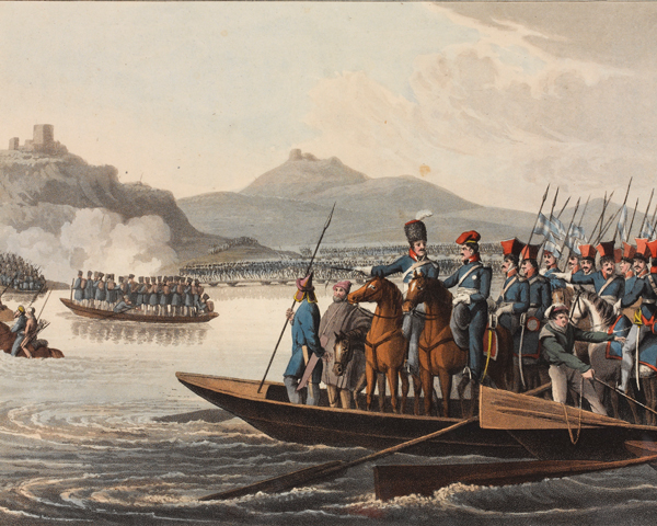 The Allied army crossing the Rhine to invade France, 1813