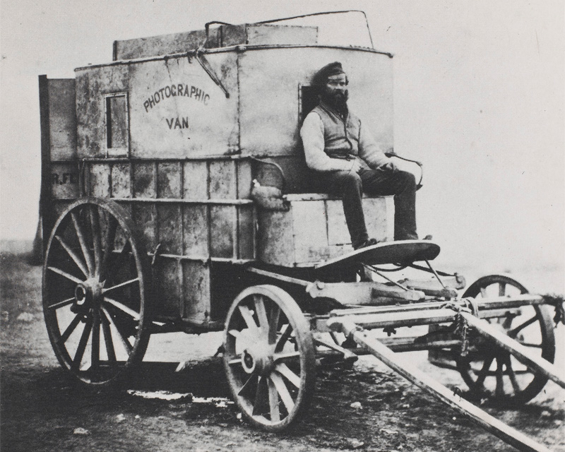 Roger Fenton's photographic van, with his assistant Marcus Sparling on the box, 1855