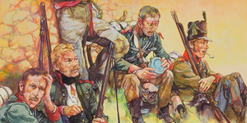 Detail from the cover of Robert Griffith's book 'Riflemen'