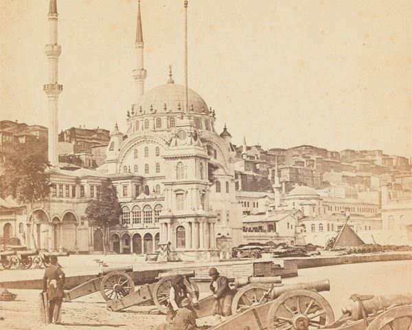 Artillery and Munitions Store, Constantinople (Istanbul), with the Mosque of Kohhanna in the background, c1855