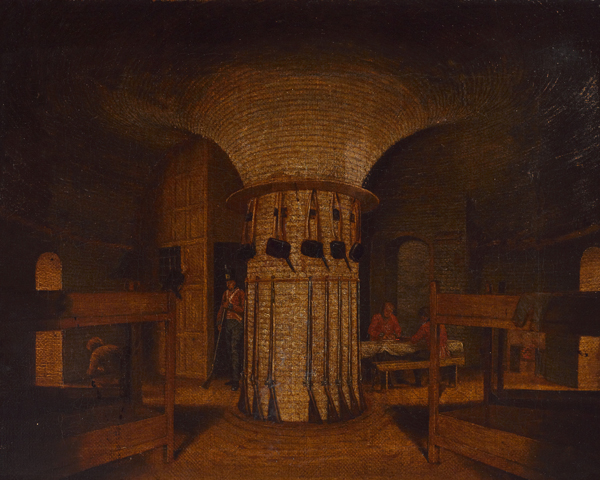 The barrack room in a Martello Tower, c1812