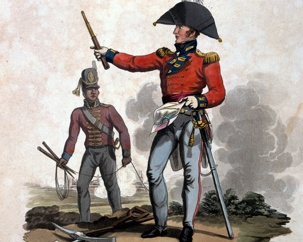 An officer of the Royal Engineers and a private of the Corps of Sappers and Miners, 1812