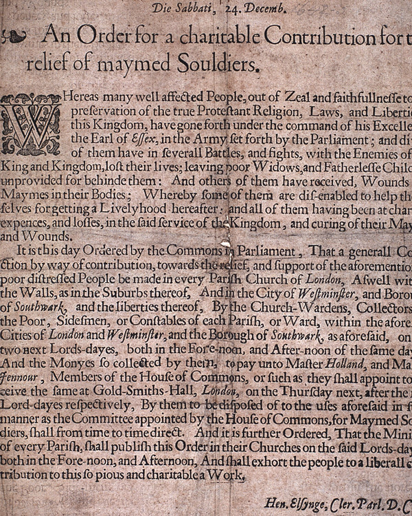 'An order for a charitable contribution for the relief of maymed souldiers (sic)', 24 December 1643