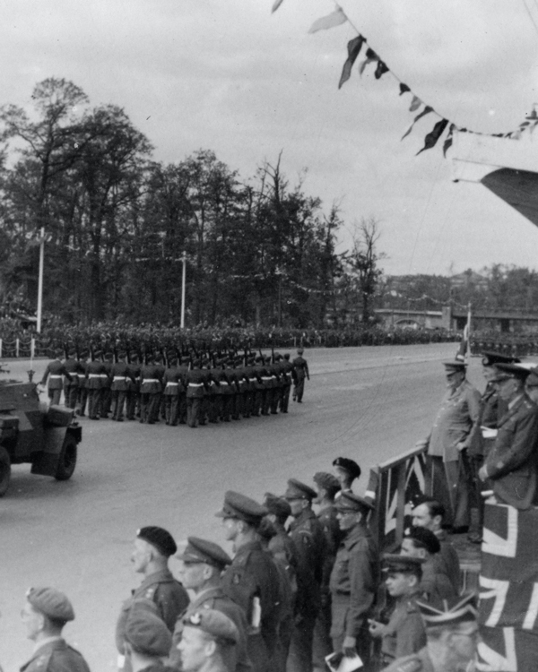 Winston Churchill and Field Marshal Montgomery at the Berlin Victory Parade, 21 July 1945